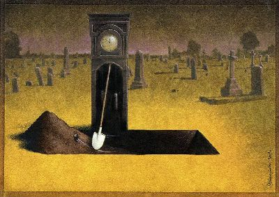 surrealism-painting-grandfather-clock-grave-digger-irony-humor-art